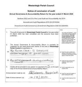 Notice of Completion of 2020 Audit
