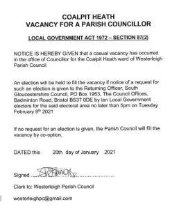 Official notice of vacancy for Westerleigh Parish Councillor